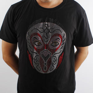 Custom Chinastyle face rhinestone printed t shirts men clothing rhinestone designs