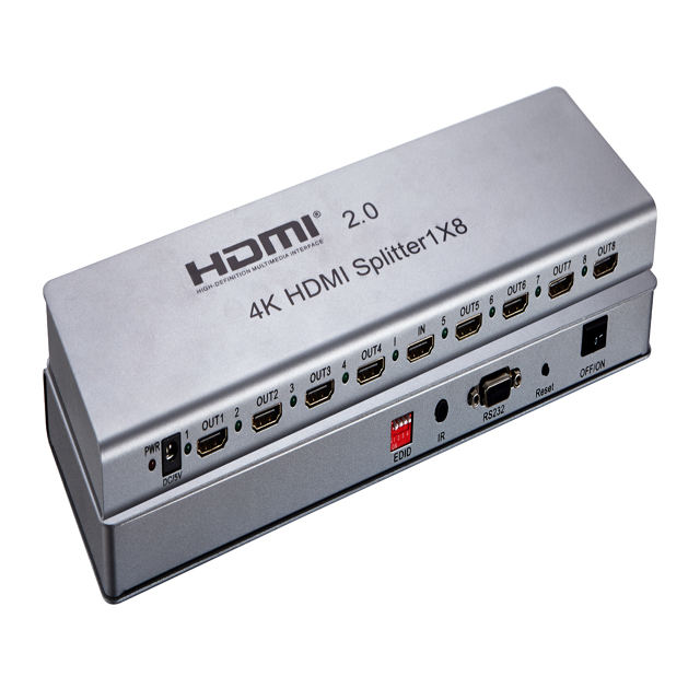 Hot matrix direct selling silvery 1x8 for hdmi distributor 1x8 HD splitter 4K separator for hdmi 2.0