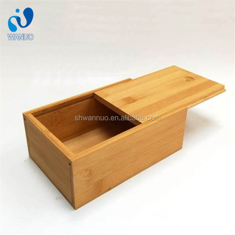 WanuoCraft Eco Friendly Natural Bamboo Sliding Lid Box Wooden Bamboo Gift Packaging Storage Boxes Case