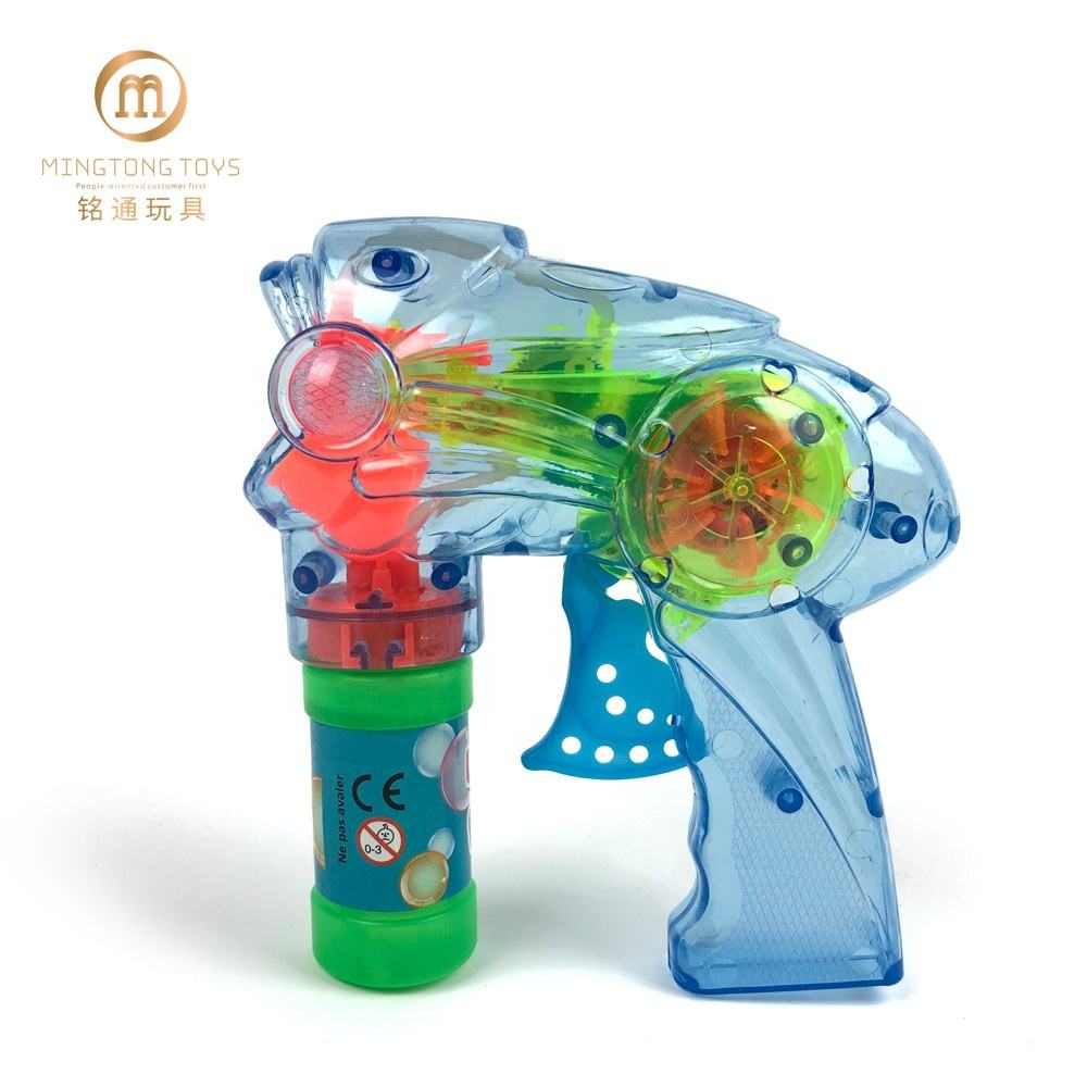 Kids soap gun toys custom LED transparent light up bubble gun
