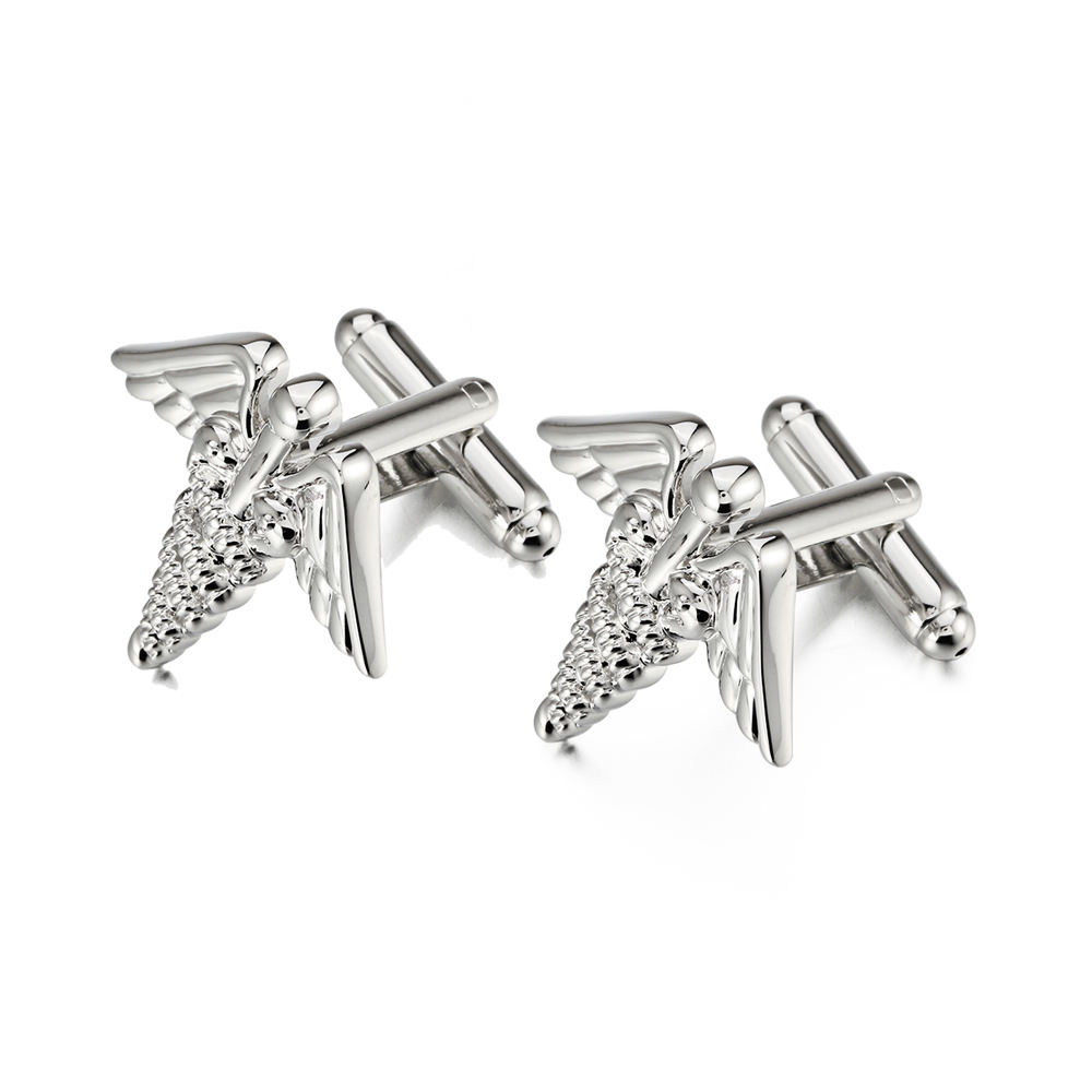 Online Retails Silver Color MenのJewelry Gifts Lucky Goddess Angel Cufflinks From Jewelry Factory