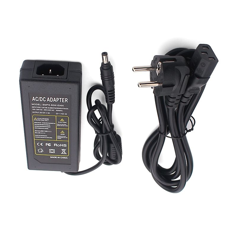 SMPS-60W-E005 EU DC Plug 5.5x2.5mm 12V 5000Ma Power Adaptors 12Volt 5 Amp Led Strip Power Adapter AC 110V -220V 50/60 HZ Adapter