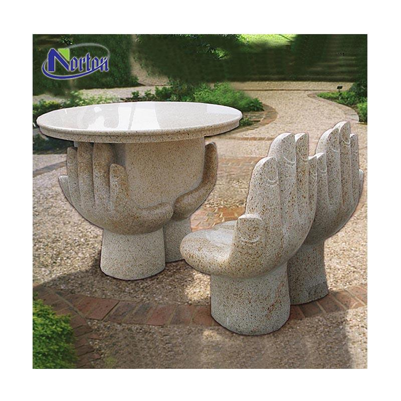 Modern different style outdoor garden use hand-shaped marble bench round stone table and chair for sale