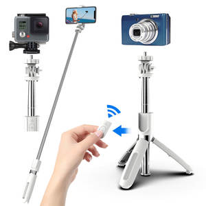 Dropshipping Gratis Monster L02 100Cm Multifunctionele Verstelbare Bluetooth Zelfontspanner Pole Statief Selfie Stok