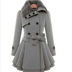 Wholesale New Fashion Women Girls Fur Collar design warm lon