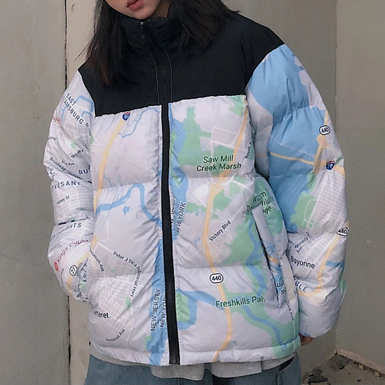 Custom All Over Printing Patchwork Stand Collar Ready Slim Fit Unisex Windbreaker Couple College Puffer Winter Jacket For Men