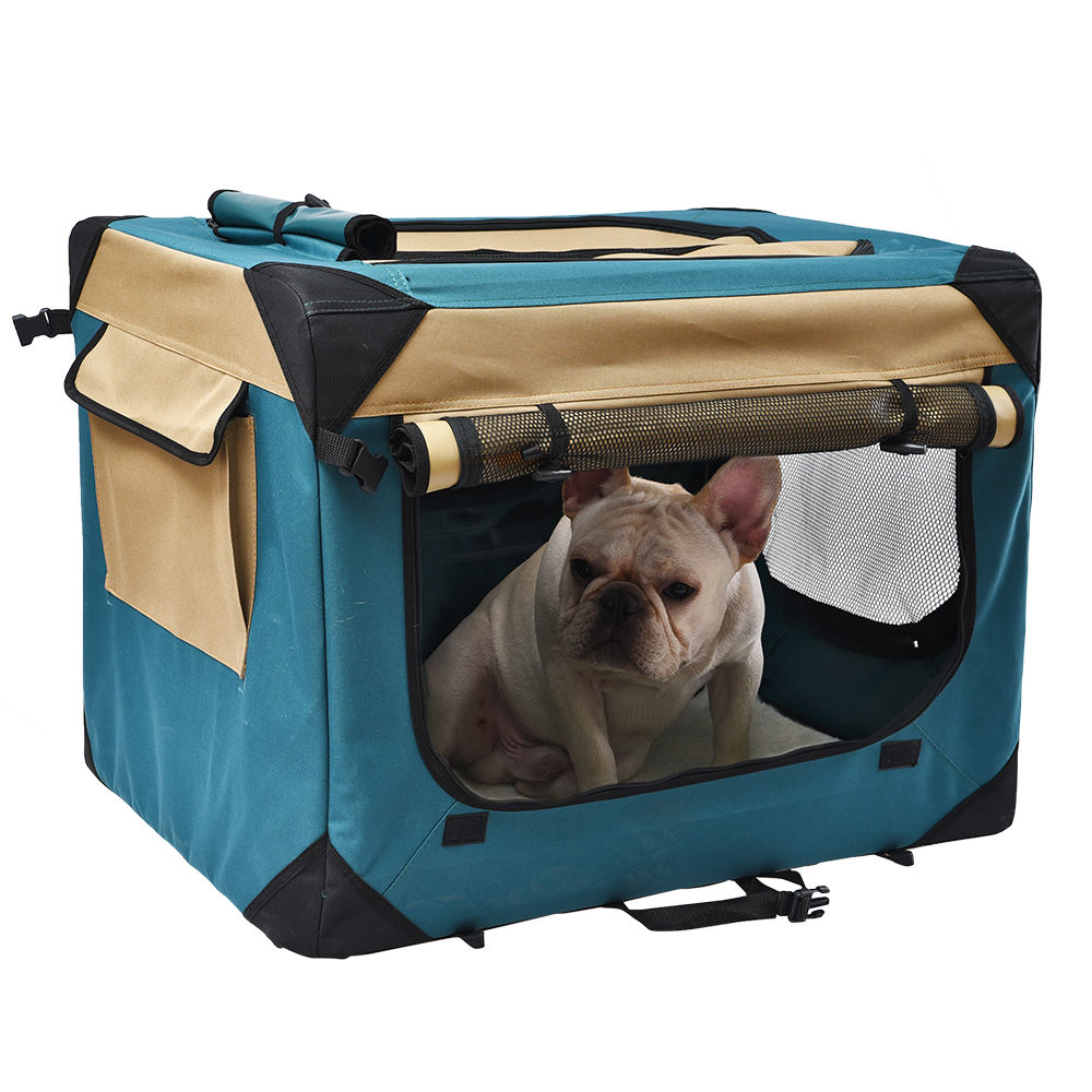 Multiple Sizes and Colors Available Outdoor Portable Pet Travel Carrier Bag 3-Door Folding Soft Pet Dog Crate