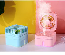 4-in-1 fan humidifier high capacity moisturizing hydrating spray USB portable desktop fan with colourful LED night light