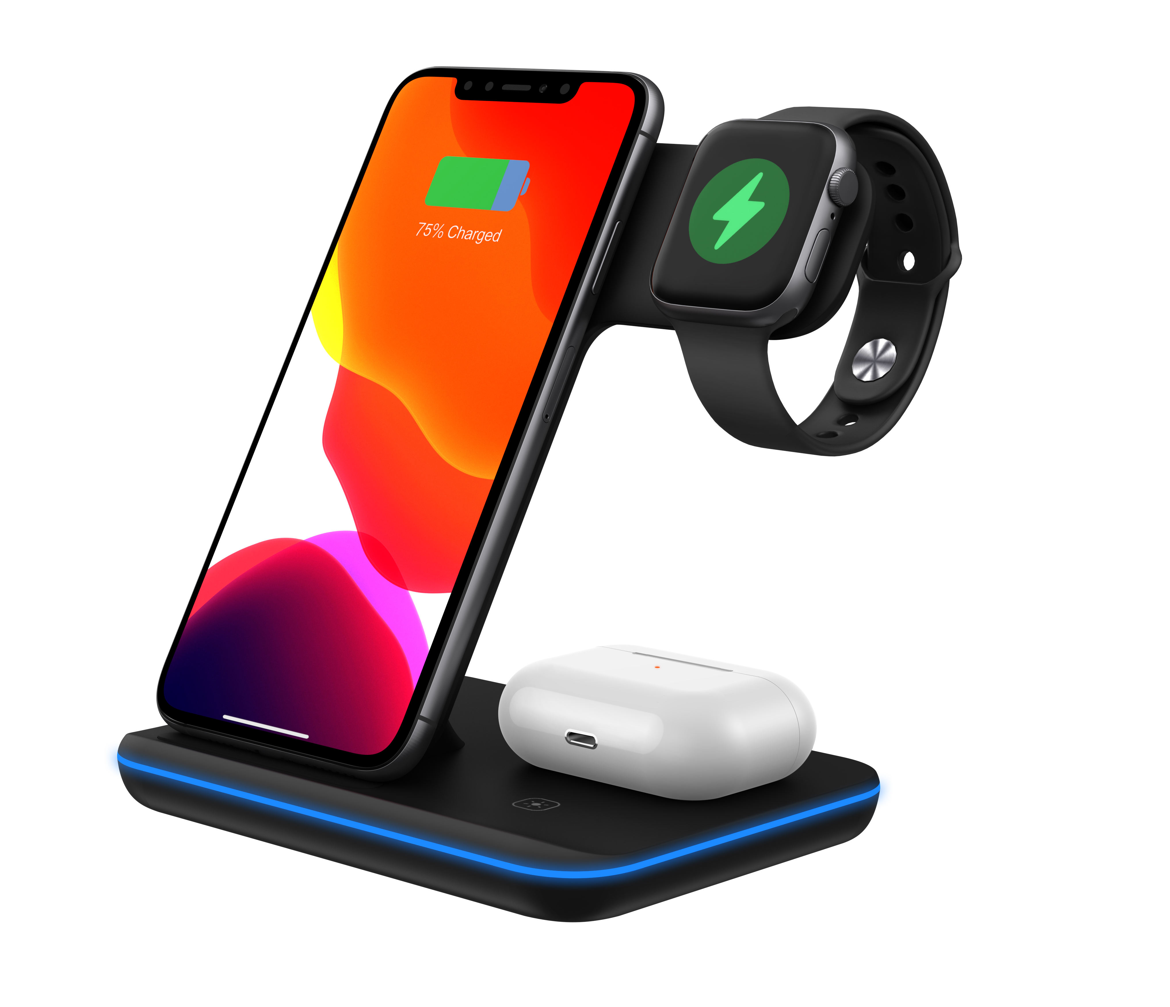 15w/10w/7.5w/5w qi wireless charger 3 in 1 for mobile phones