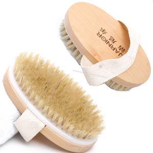Wholesale Custom Logo Oval Shape Handheld Boar Bristle Bath Exfoliating Brush Wooden Dry Skin Body Brush