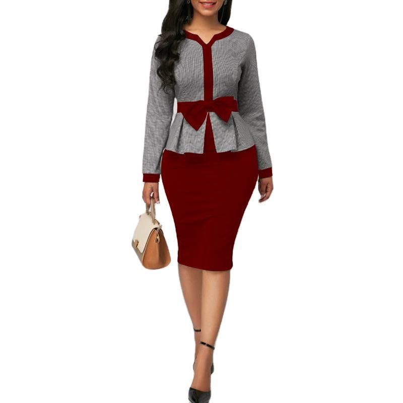 Bow Good quality two-piece set peach collar bow decoration commuting office ladies formal plus size dress HQYH-AM343