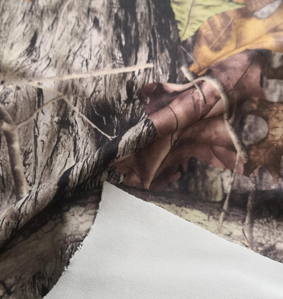 95/5 poly/ lycra forest camouflage printed stretch jersey fabric