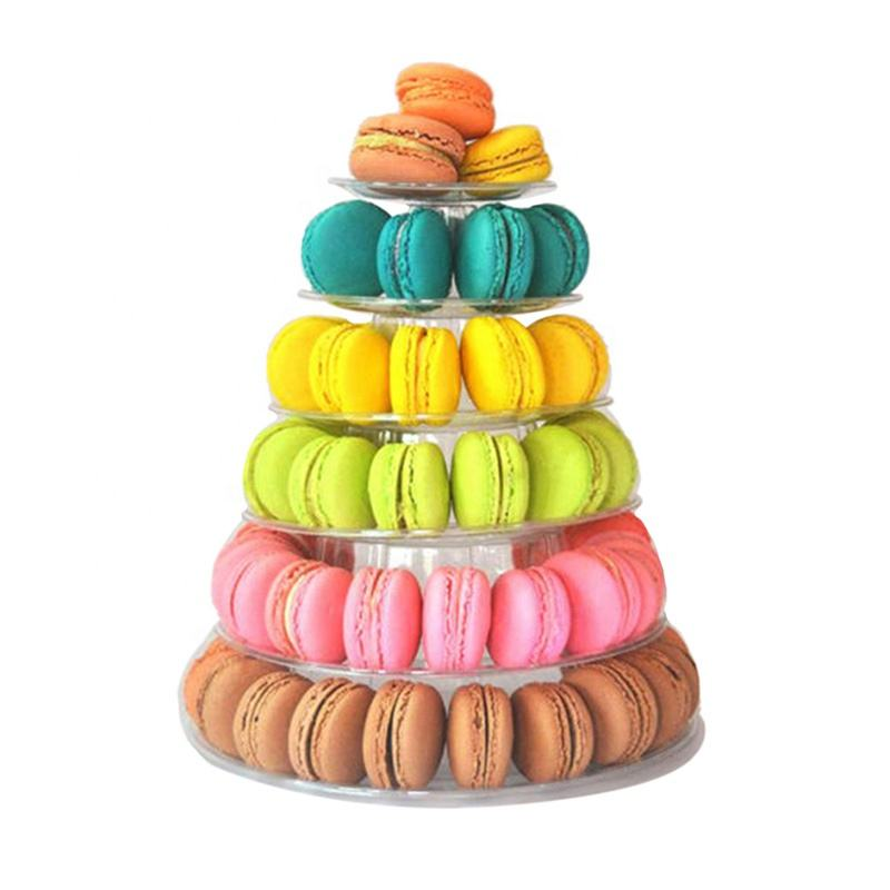 Guess Round 6 Tier Macaron Tower Cake Stand Cupcake Macaroons Display Rack Holder Tools Wedding Decoration Easter Party Supplies