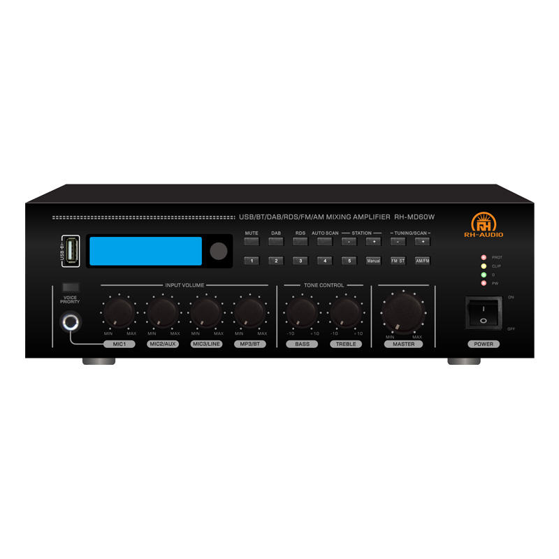RH-<span class=keywords><strong>AUDIO</strong></span> 70V 100V <span class=keywords><strong>Audio</strong></span> Mixer Amplifier dengan USB BT FM DAB +