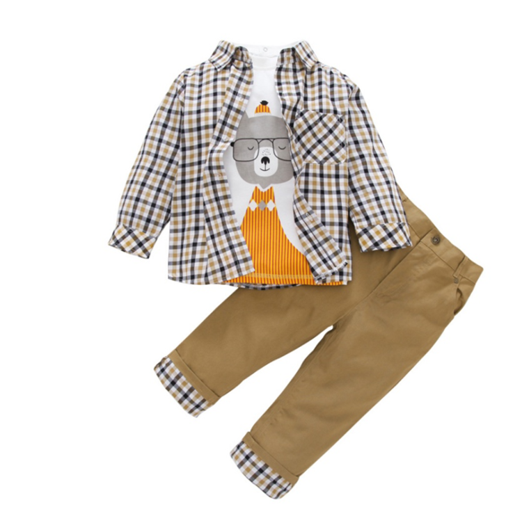 WSG23 Autumn New Boys Clothing Sets Jacket Shirts Pant 3pcs Suits Clothing Kids Long-sleeved clothed for Kids