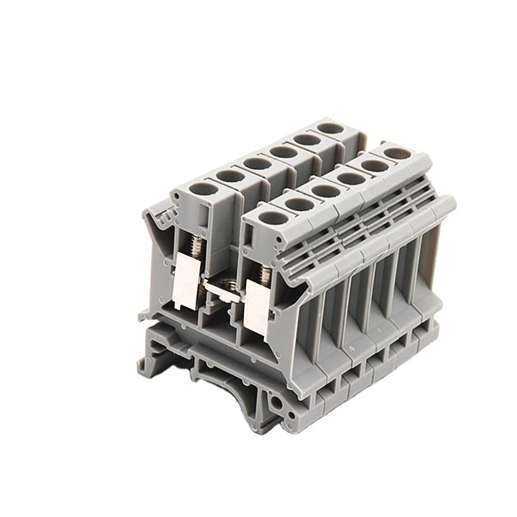 UL94V-0 Earthing Din Rail Screw Connector 100 Amp Electrical Terminal Block