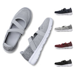Womens Slip On Sneakers Walking Casual Mesh Knitted Loafer Flat Boat Shoes