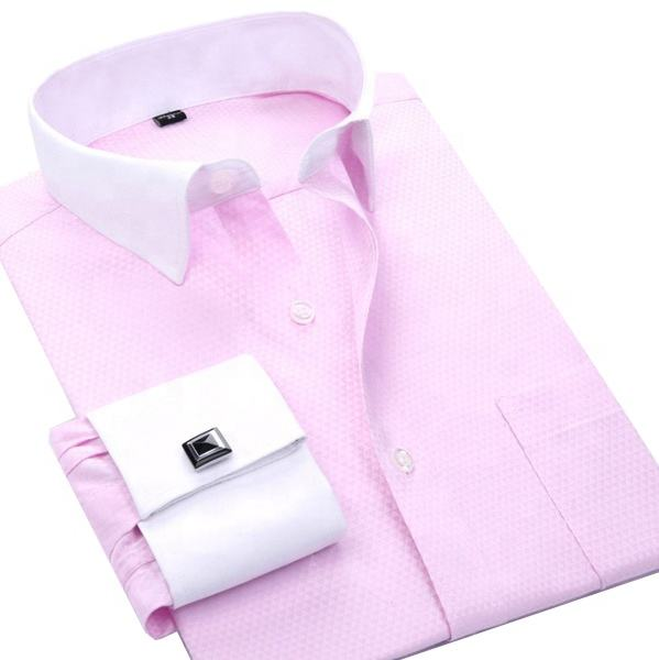 2020 Men Long Sleeve Pink Slim Fit Male Social French cuff Business Formal Office Dress Tops Shirts