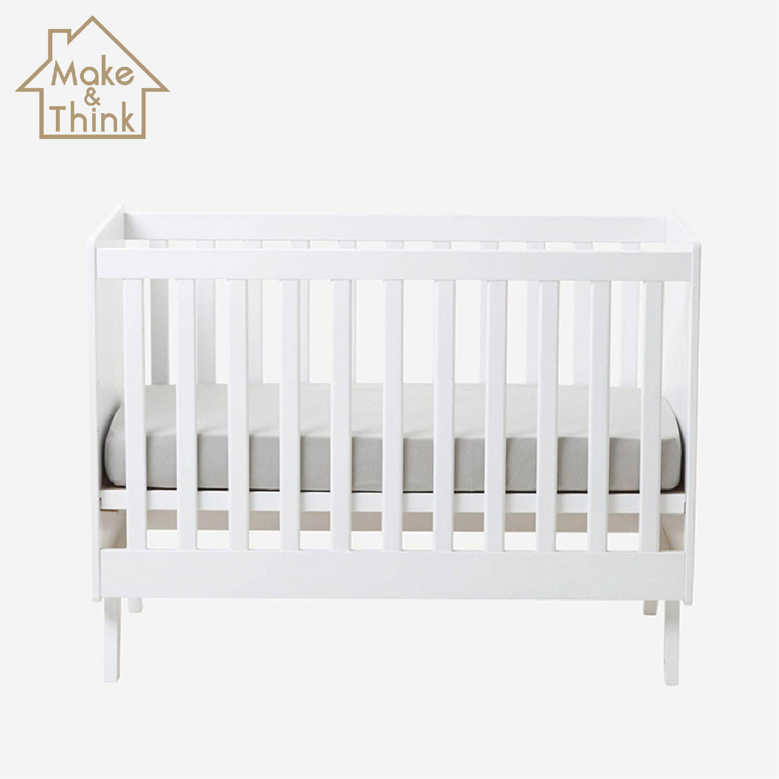 Modern design no-toxic white painting new born baby wooden bed cot crib