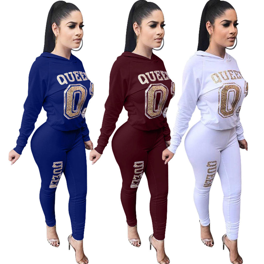 Wholesale Bronzing Casual Long-Sleeved Hooded Top Pants Two-Piece Set