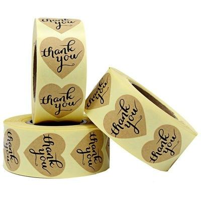Cheap Sticker Printing Self Adhesive Product Label,Heart Shape Thank You Sticker Labels,Kraft Paper Sticker