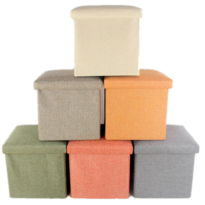 High Quality FootStool linen toys books foldable ottoman storage bench