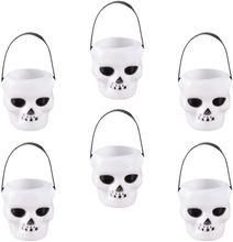 Halloween white mini Candy Bucket Kettle Witch Cauldron Portable Skull Candy Kettles