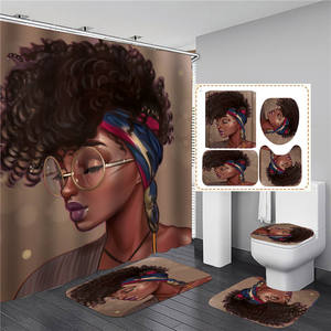 Customized Logo Printed Art Decoration Girl African Woman Shower Curtains