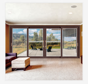 4 panel thermal break alu flush high quality sliding glass door with built-in blinds