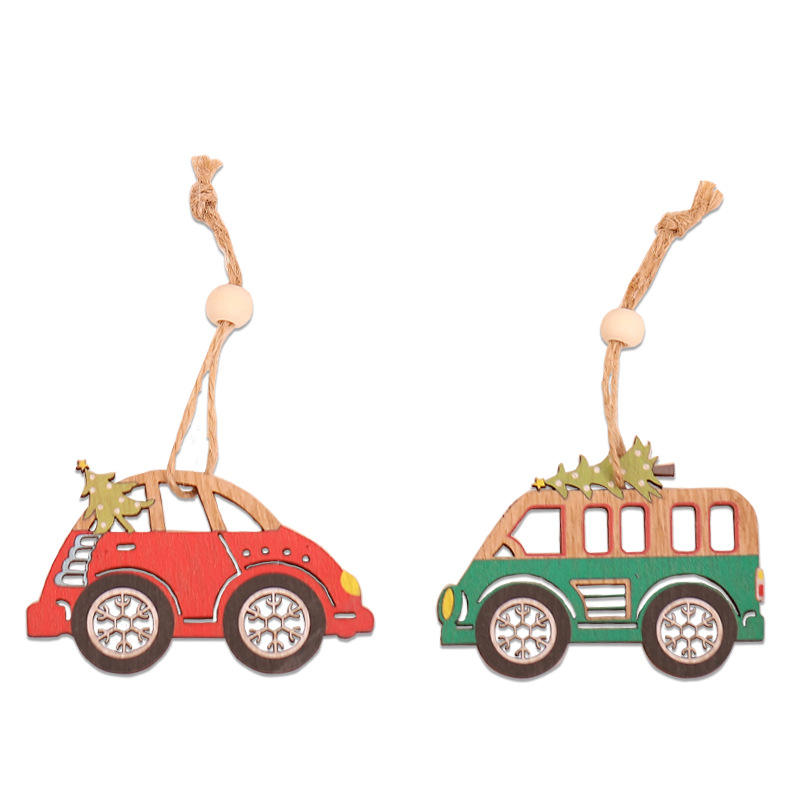hot sale china christmas decoration ornament wooden christmas decoration creative car shape Christmas tree decoration