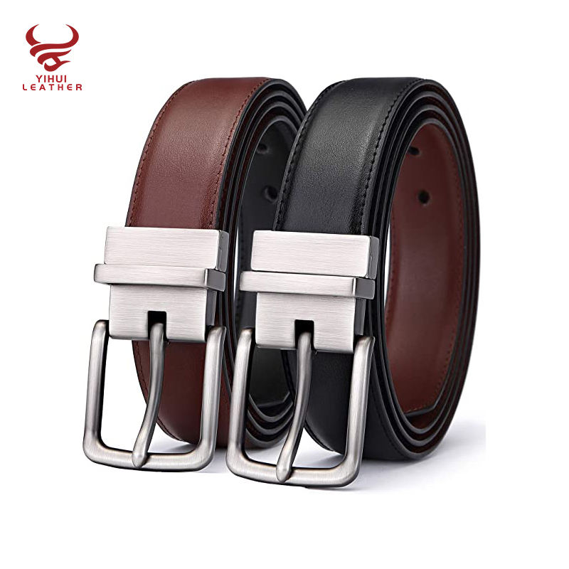 Custom Logo Pin Buckle Black Brown Double Sided Reversible Rotated Buckle Genuine Leather Men Belt