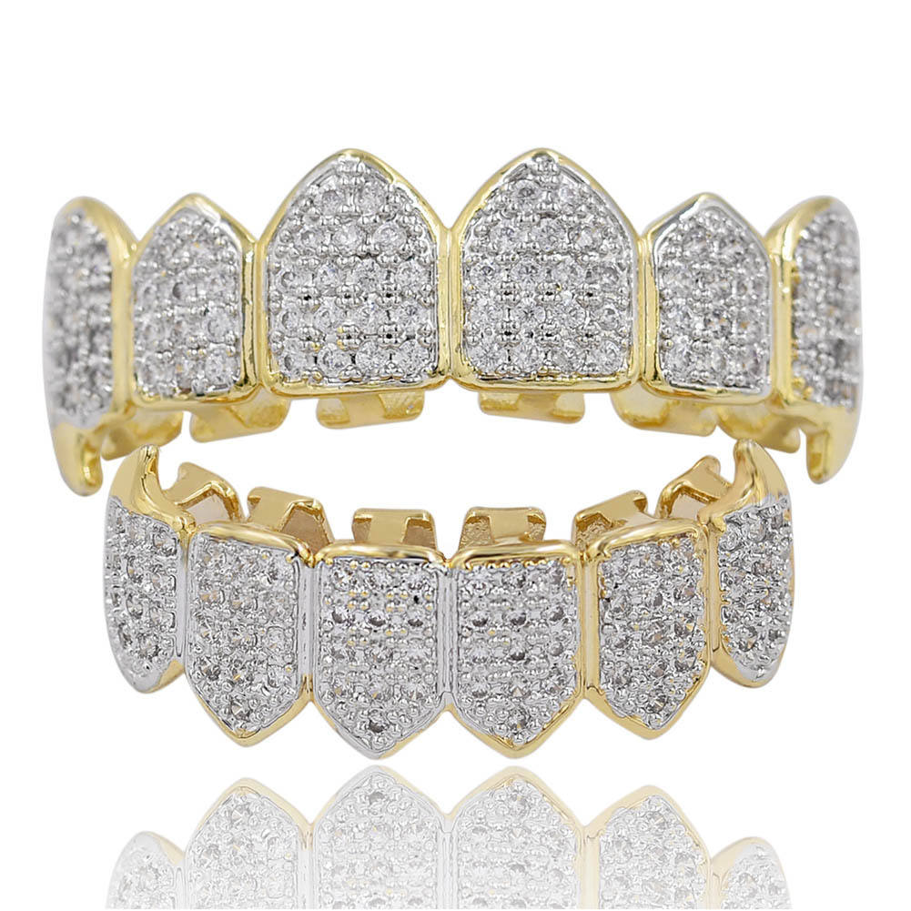 Iced Out Micro Pave CZ Teeth Caps Grillz Top and Bottom Set 18k Gold Crystal Teeth Grills For Men Rapper Jewelry Wholesale
