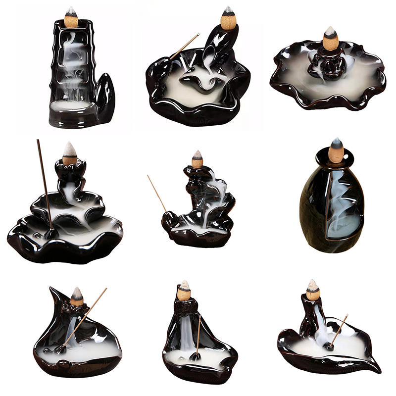 Ywbeyond Bamboo joint Ceramic waterfall Incense Burner Holder Backflow Incense Burner Buddhist Decoration Home Aromatherapy Gift