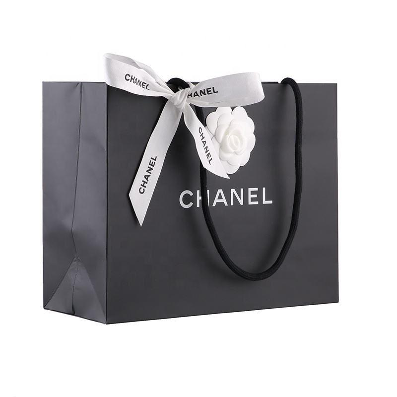 Excellent Quality Promotional paper shopping bag LOGO Customized Luxury reusable shopping bag with ribbon handle