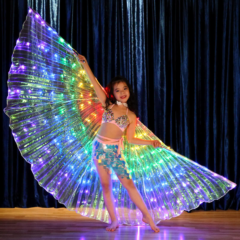 China Belly Dance Wear Performance Show Fluorescent Butterfly Cloak Colorful Kids Led Isis Wings