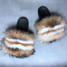 Female Furry Flip Flops Casual Women Spring Summer Real Fox Fur Feather Fuzzy Slippers Open Toe Fur Sandals Slides