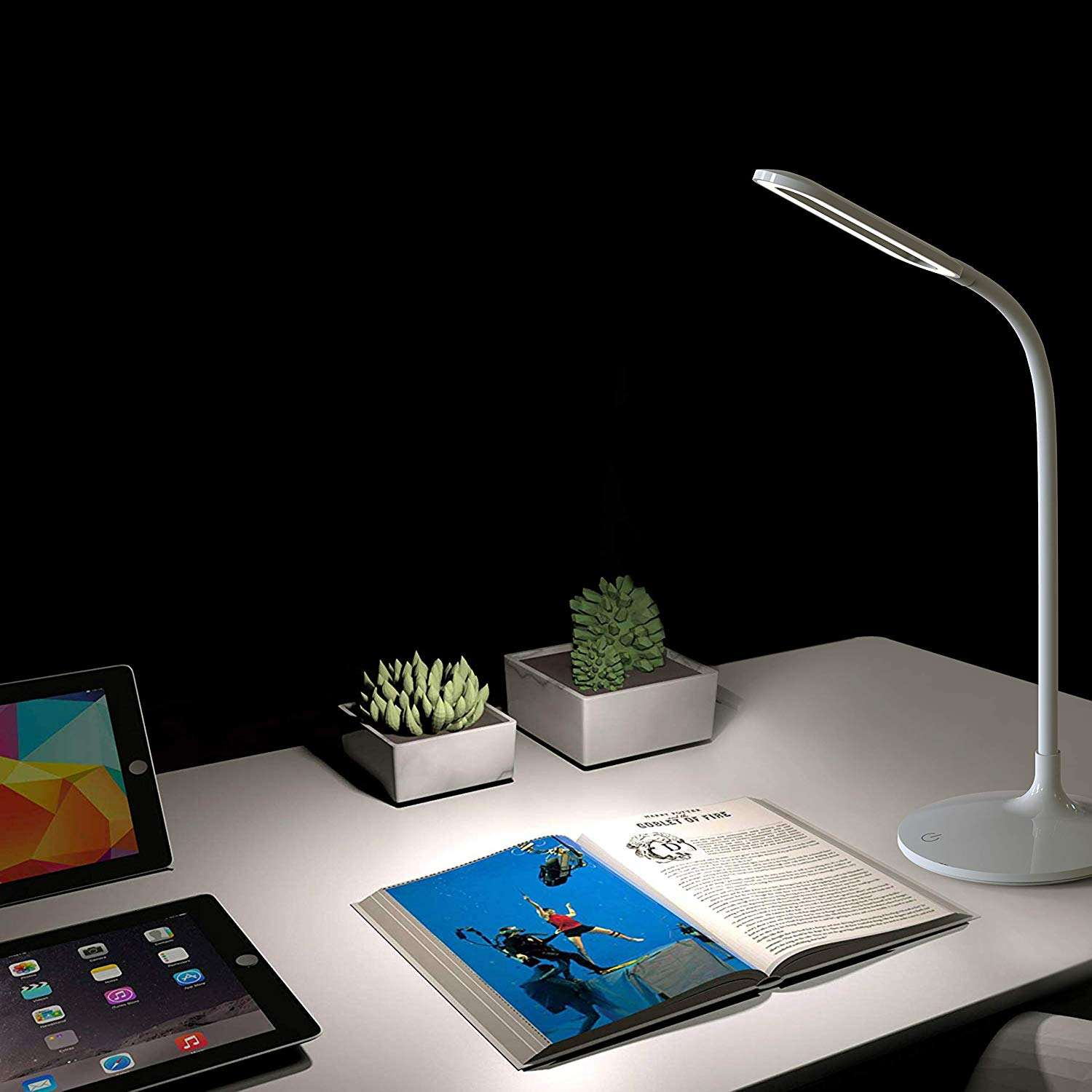 Biumart touch sensor 360 degree rotation Eye Protection USB rechargeable Flexible swan neck Bedside circle LED Reading Desk Lamp
