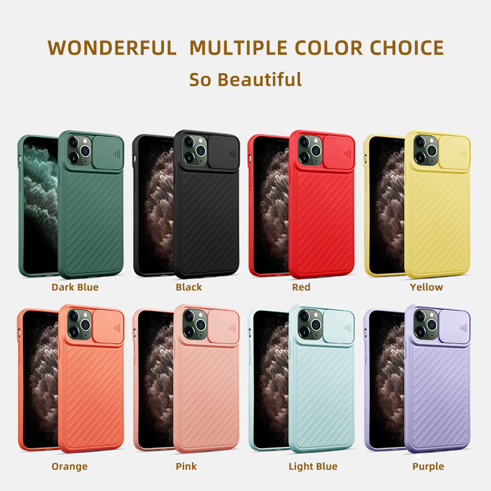 Hot Deals Cell Phone Case Wholesale for iPhone 11 Pro Max, Camera Sliding Lens Protective Mobile Phone Case Colorful TPU Case