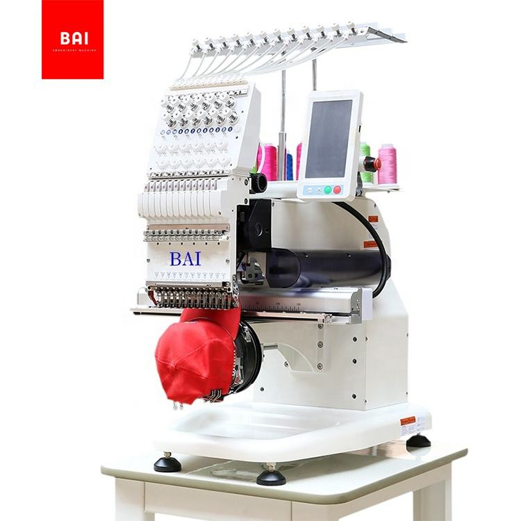 BAI home use 300*350mm embroidery area 12 needles t-shirt hat computerized embroidery machine