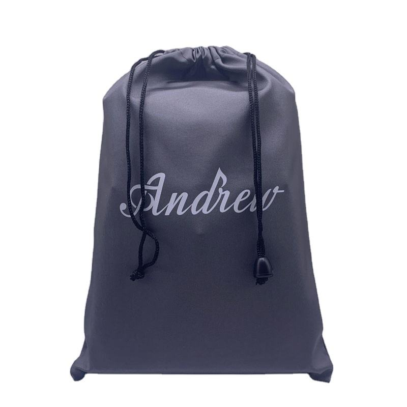 Wholesale Customized Small Dust Silk Satin Bag Hair Wig Extension Black Drawstring Satin Pouch