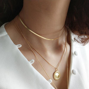 Luxury 925 Sterling Silver 18K Gold Plated Snake Chain Necklace
