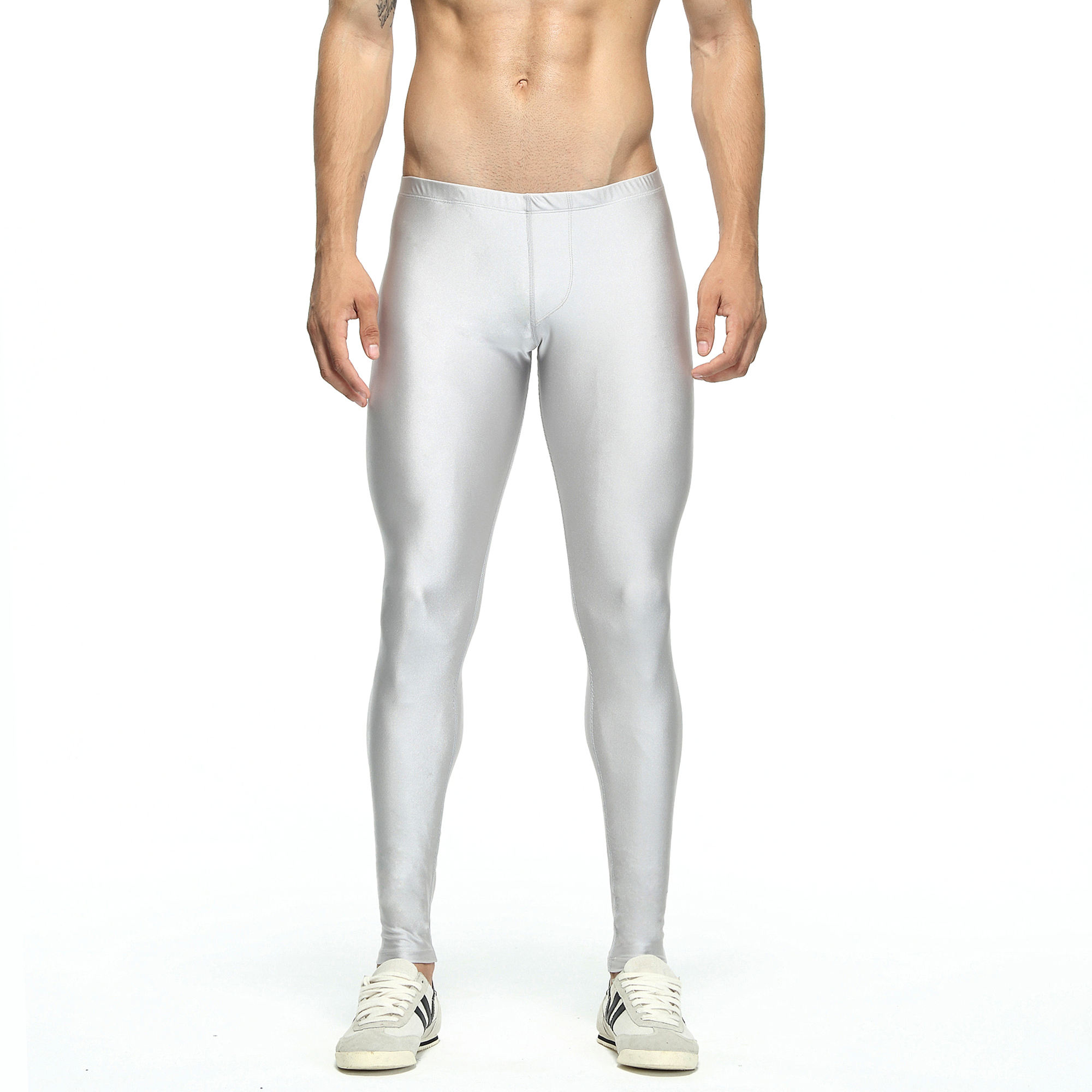 Popular New Producing Training Suit Men's Elastic Tight Trousers Sports Running Leggings Solid Color Yoga Pants