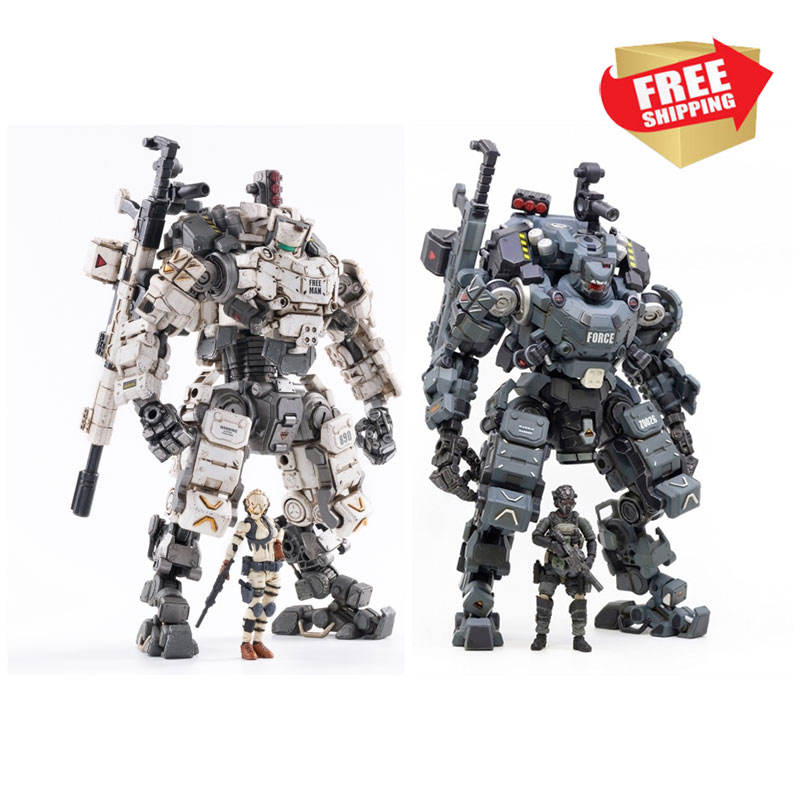 Combo 2 pcs 22cm 1/25 Scale Collectible JOYTOY White Blue STEEL BONE ARMOR with Figure Doll Collection Toy