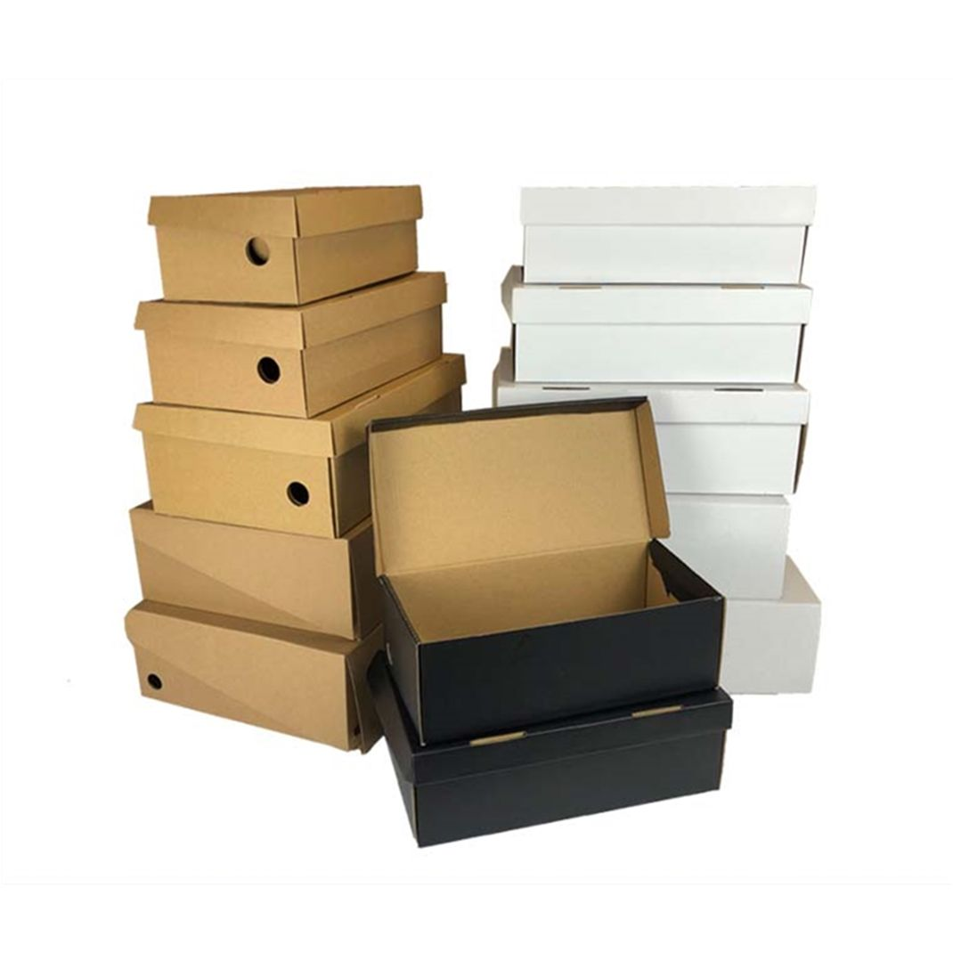 Wholesale Strong Cheap Corrugated Kraft Shoe Box Custom Plain Paper Box for Shoes