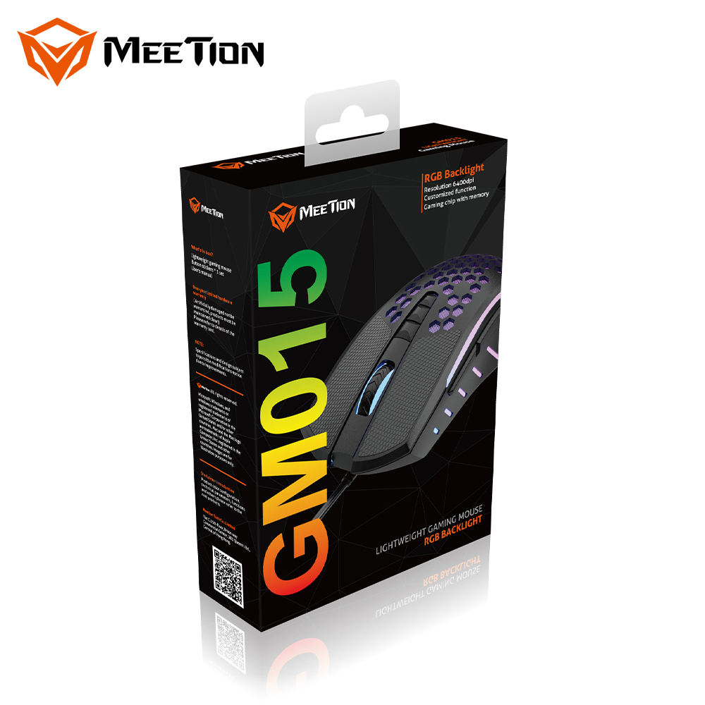 Usb Gaming Mouse MeeTion GM015 Cheap Black Optical RGB Wired USB PC Computer Lightweight Honeycomb Gaming Mouse