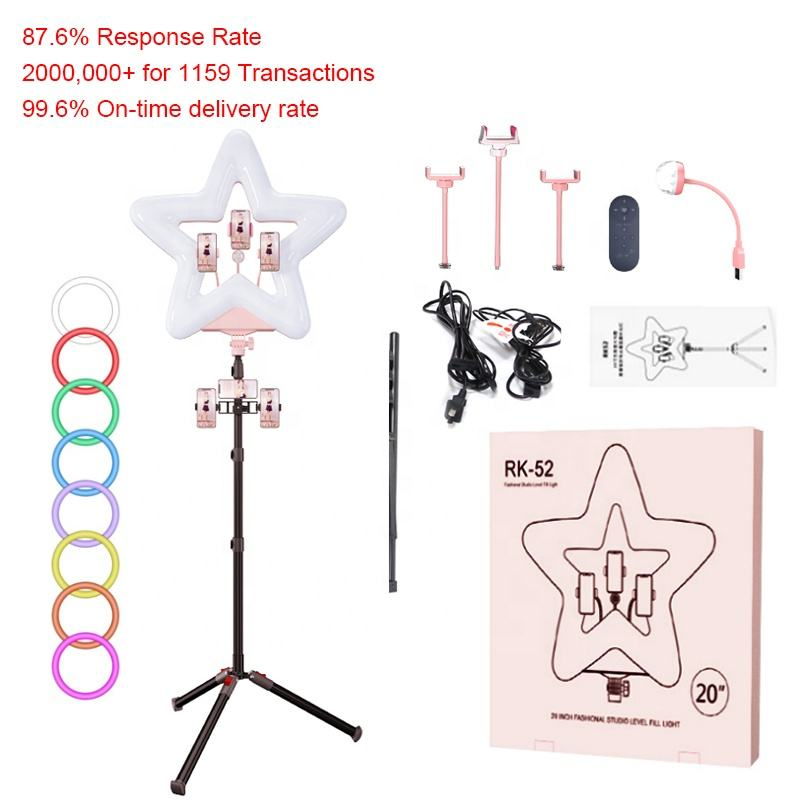 2020 20inch ringlight aro de luz heart shaped selfie led ring light with stand and phone holder for zoom