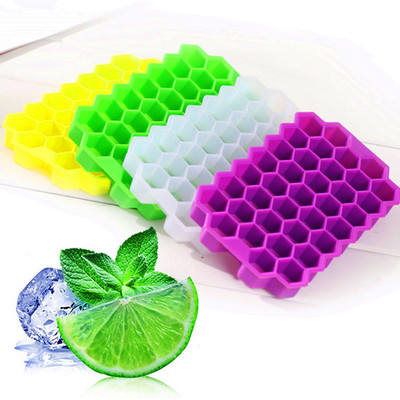 Honeycomb Ice Cube Tray 37 Cubes Silicone Ice Cube Maker Mold With Lids For Ice Cream Party Whiskey Cocktail Cold Drink