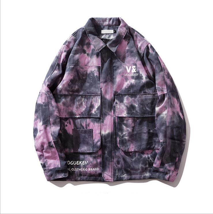 Autumn New Arrival Men's Clothing Tie Dyed Pockets Printing Cargo Men Jacket Coat