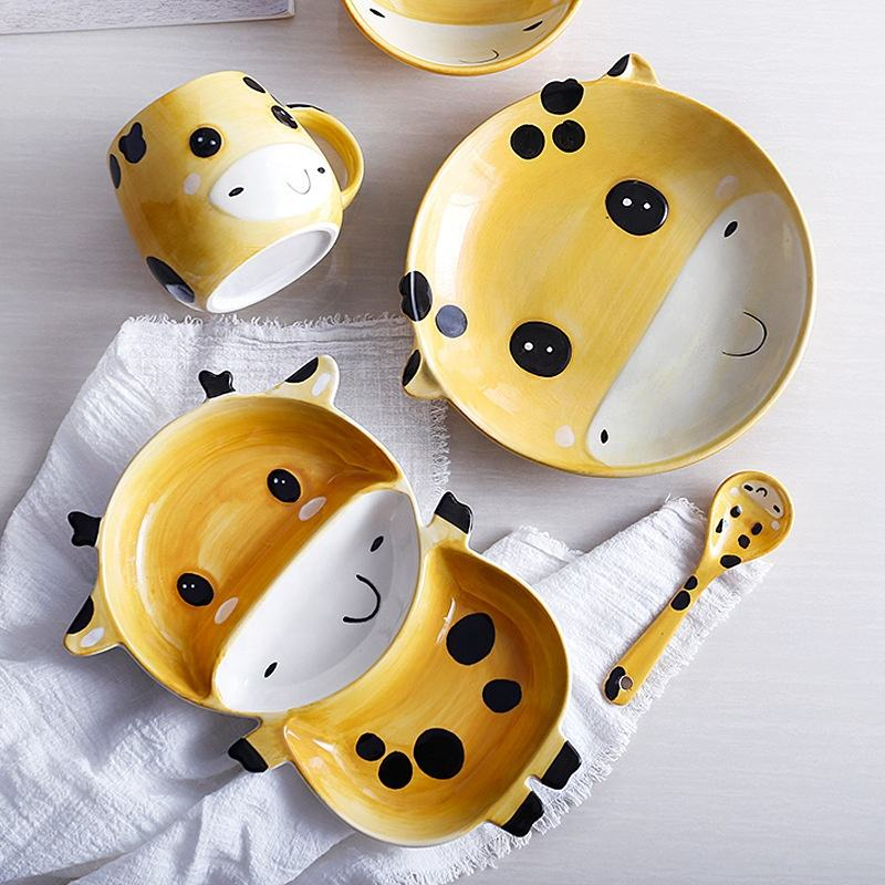 Creative Cute Animal Style Hand-painted Children's Healthy Ceramic Tableware, Plates, Spoons and Cups