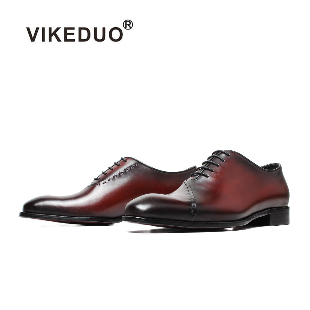 Vikeduo Hand Made Square Toe Special Original Design Italian Oxford Brogue Dress Shoes For Men Top Brands